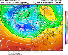 GFS Model showing Atlantic Driven Weather