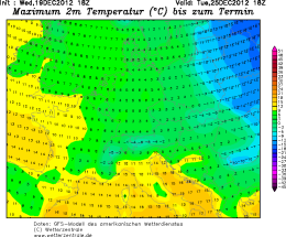 GFS Temperature prediction for Christmas day