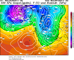 The GFS shows a Northerly bringing colder air towards the middle of next week